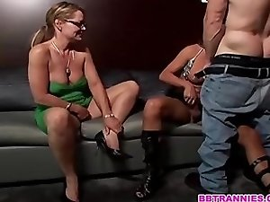 Sexy blonde babe a man and a naughty tgirl