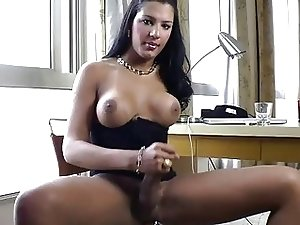 Slutty TS with big tits in solo action