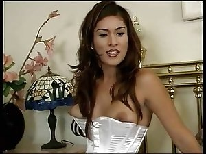 Tranny In White Lingerie Hammered Hard