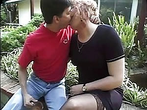 Hot TS MILF seduces twink outdoor
