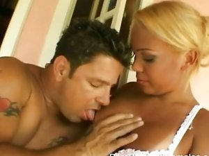 Busty shemale pleasures horny guy