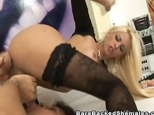 Blonde Tranny Plays With Guy